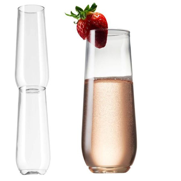 Tossware Shatterproof Stackable Flutes 250ml BPA-Free Upscale REUSABLE/Recyclable Set of 2