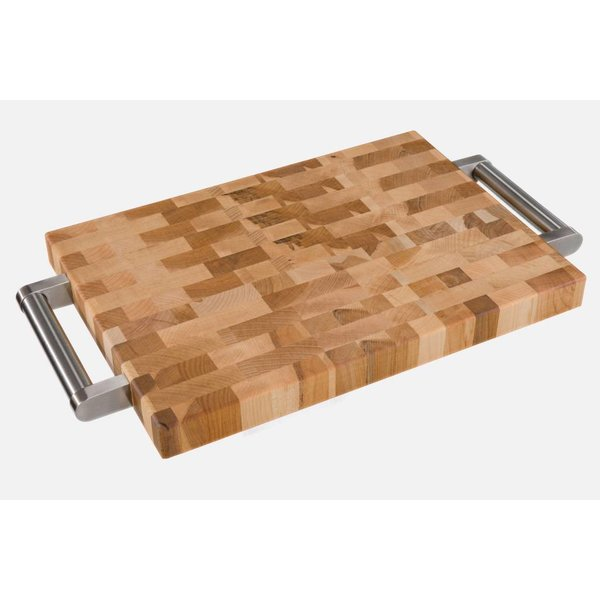 "Labell  10 x 14 x 1.25""  Cutting/Serving Board w/Steel Handles"