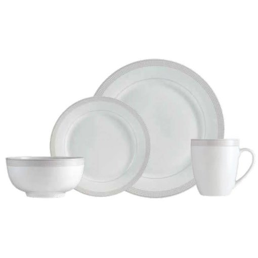 "Mann 16-Piece ""Taupe Dot"" Dinnerware Set"