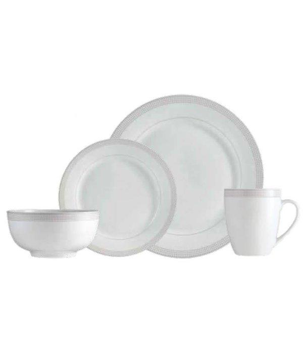 """Ensemble à vaisselle 16mcx """"Taupe Dot"""" de Mann"""