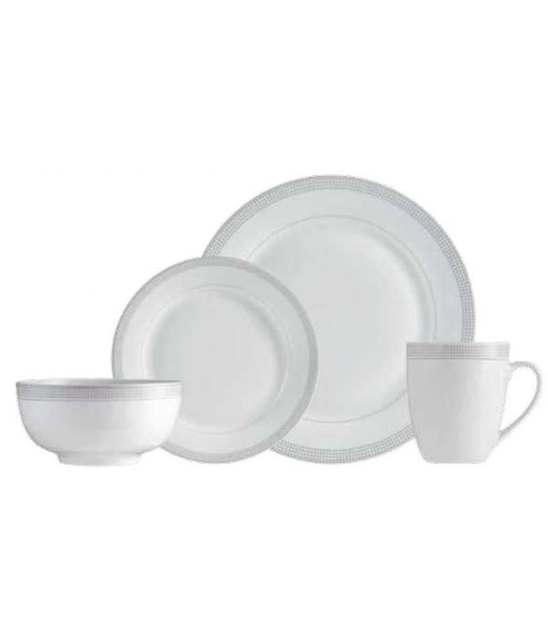 "Mann 16-Piece ""Grey Dot"" Dinnerware Set"