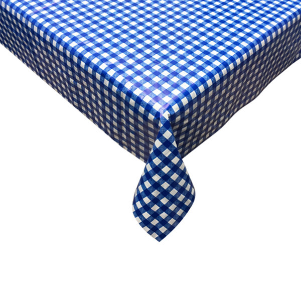 "TEXSTYLES Vinyl Tablecloth 60"" x 84"" ""Gingham"", Blue"