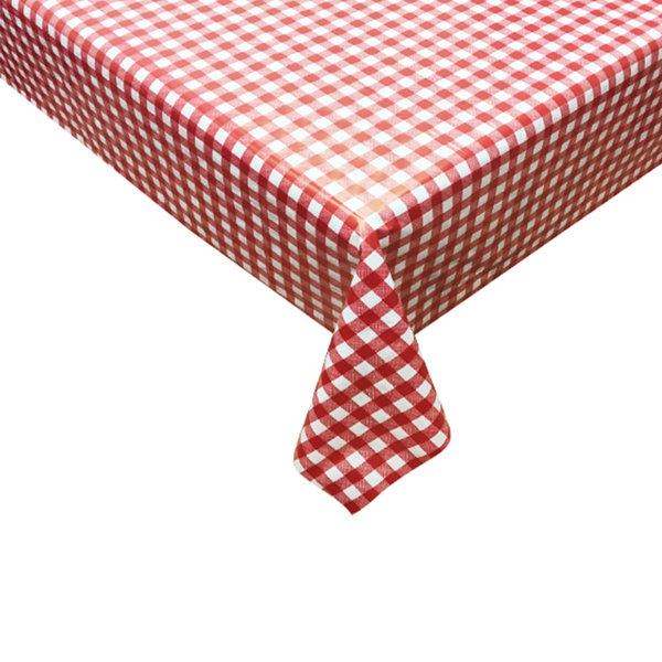 """TEXSTYLES Vinyl Tablecloth 54"""" x 72"""" """"Gingham"""", Red"""