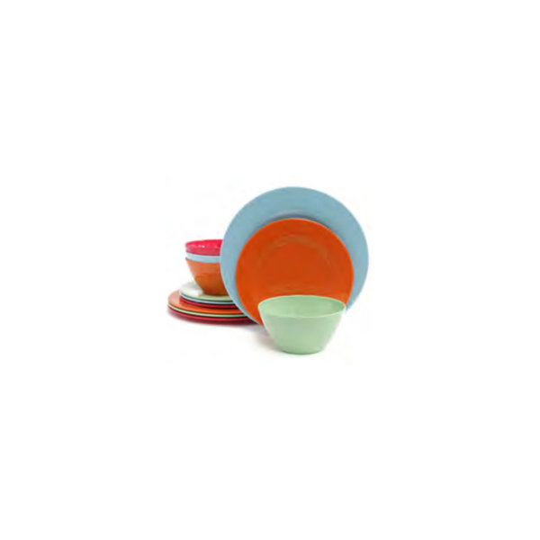 12pc Melamine Dinnerware Set, 4 colors