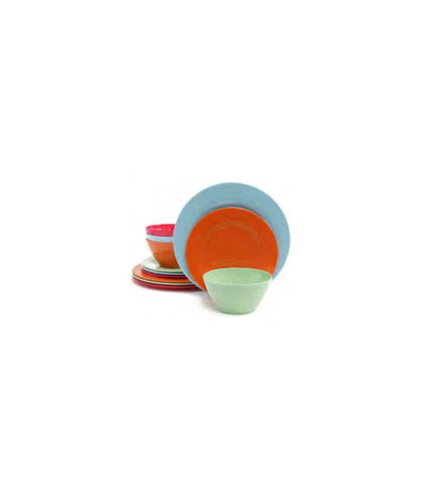 12pc Melamine Dinnerware Set, 4 colors