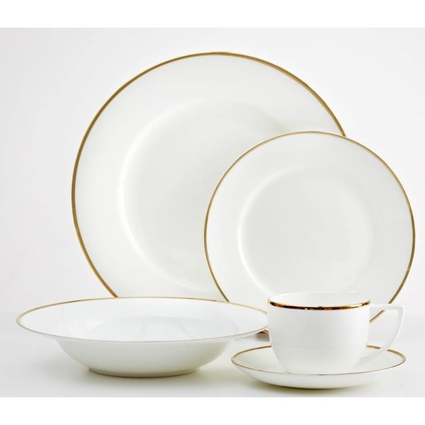 Dinnerset Gold Rim Luxe 20PC by Safdie