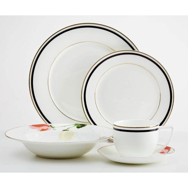Dinnerset Black-Gold Rim with Flower Capri 20PC by Safdie