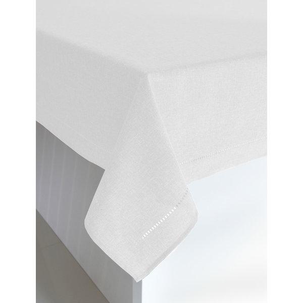 "Harman Linen Look Tablecloth 52""x70"", White"