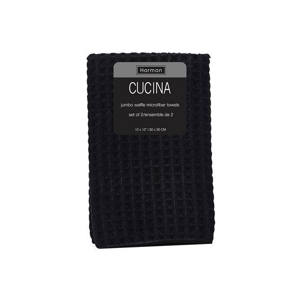 CUCINA JUMBO WAFFLE KITCHEN TOWELS, BLACK, SET OF 2