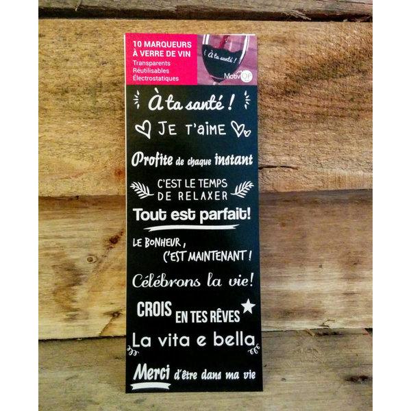 Marqueurs à verre de vin Motivop, Français