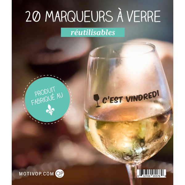 Motivop Set of 20 Wine Glass Decals, French version