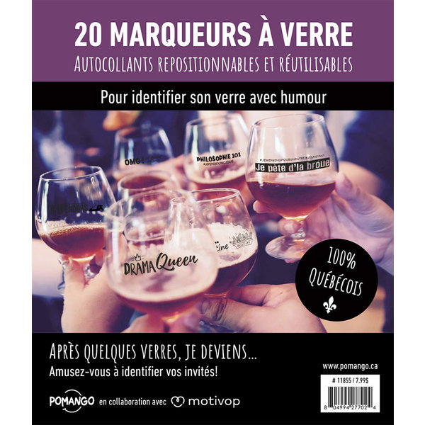Motivop Set of 20 Humorous Wine Marker Decals, French