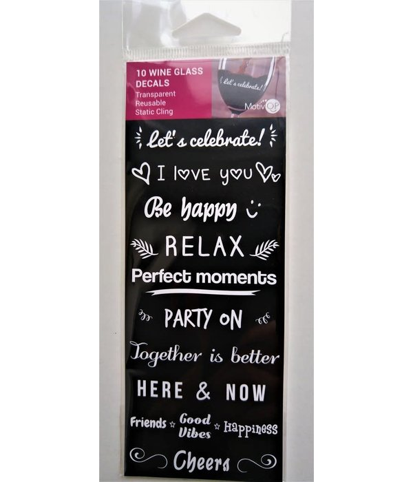 Motivop MOTIVOP Set of 10 Wine Marker Decals, English