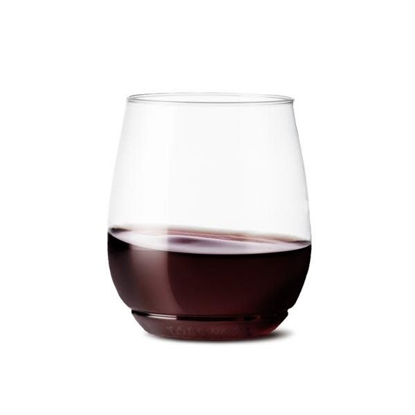TOSSWARE Set of 4 Stackable Reusable/Recyclable Plastic Wine Glass