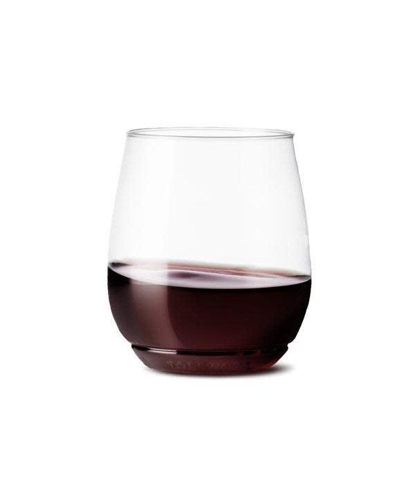 TOSSWARE Set of 4 Stackable Reusable/Recyclable Plastic Wine Glass