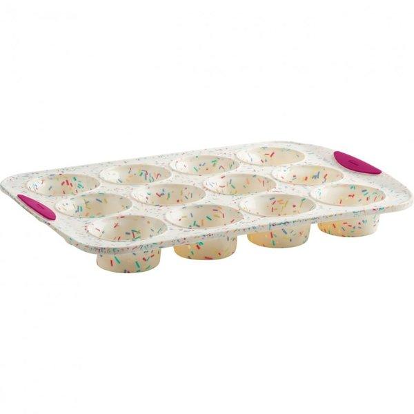 Trudeau Structure Silicone White Confetti Muffin Pan