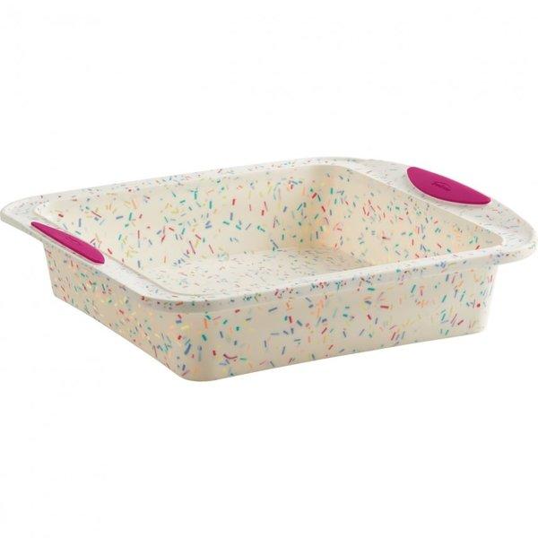 Trudeau Structure Silicone White Confetti Square Cake Pan