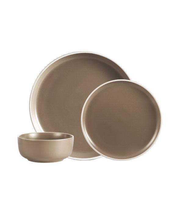 Ensemble à vaisselle 12mcx en grès ''2-tone beige'' H2K