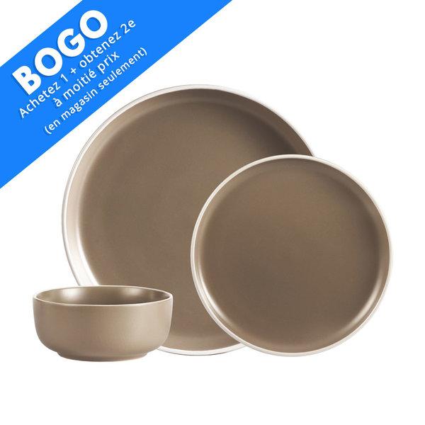 H2K 12pc 2-Tone Beige Stoneware Dinnerware Set
