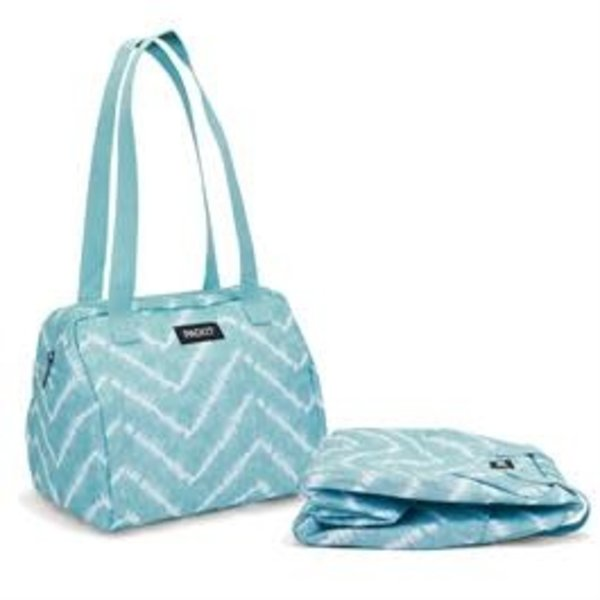 Packit Hampton Freezable Tote Lunch Bag  Aqua Tie-Dye
