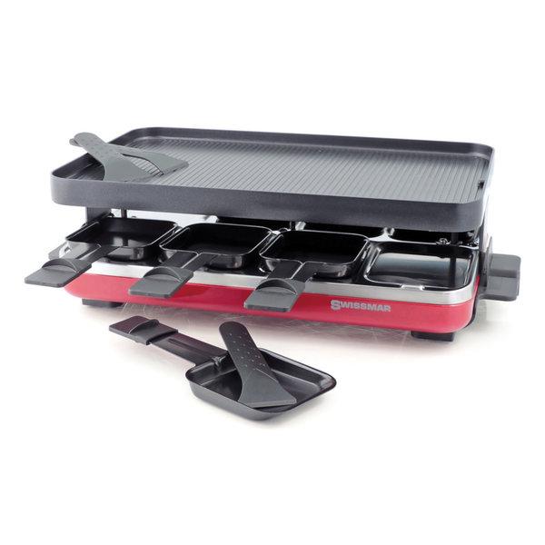 Raclette électrique Valais rouge avec grill en fonte d'aluminium antiadhésive  réversible de Swissmar
