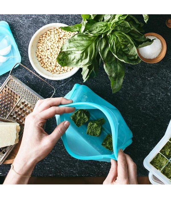 Stasher Sac de rangement réutilisable aqua avec gousset de Stasher