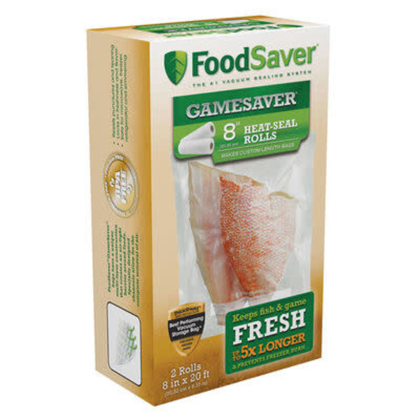 "FoodSaver® GameSaver® 8"" x 20"" Heat-Seal Vacuum Sealer Long Rolls, 2-Pack"