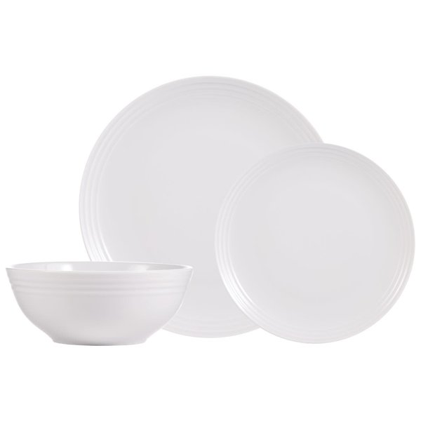"H2K 12pc ""Contour"" Dinnerware Set, white"