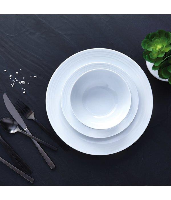 "H2K 12pc ""Contour"" Dinnerware Set, white"
