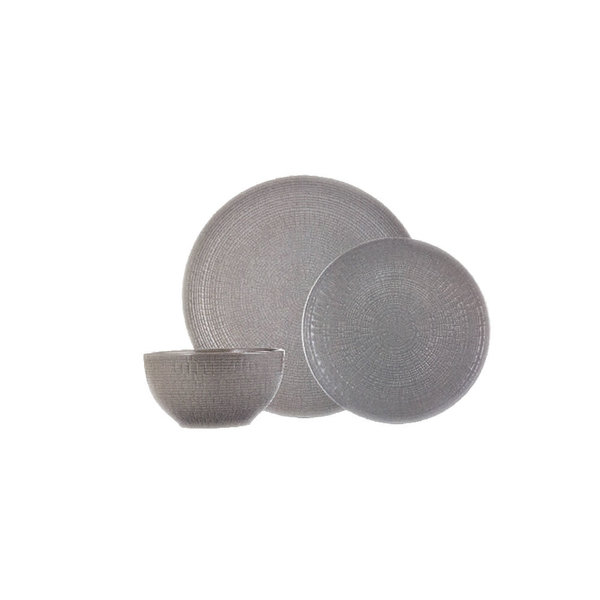 12pc Medallion Stoneware Dinnerware Set, grey