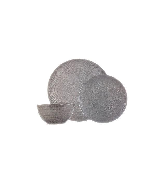 12pc Medallion Stoneware Dinnerware Set, grey