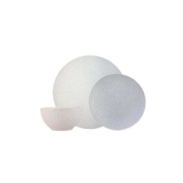 12pc Medallion Stoneware Dinnerware Set, white