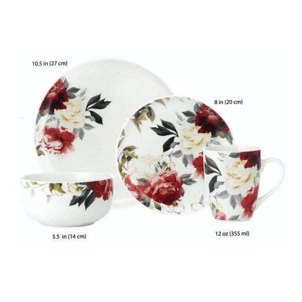 16pc Rose Garden Porcelain Dinnerware Set