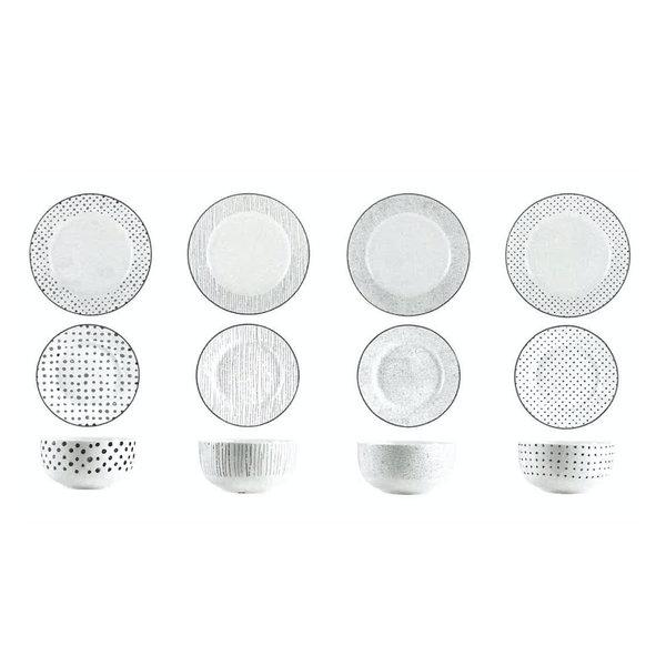 12pc Sketch Ceramic Dinnerware Set