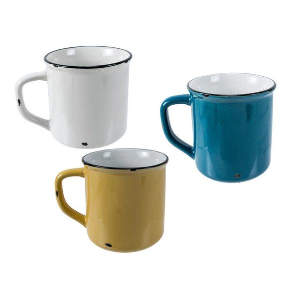 """Tasse en ceramique émail """"Woodland"""",  3 couleur assorties"""
