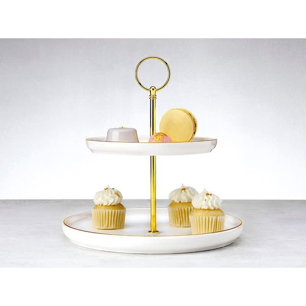 Maxwell & Williams Oro 2 Tiered Cake Stand