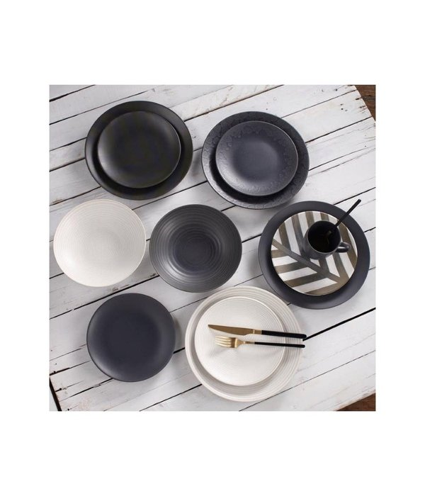 Mesa Ceramic Black Folia Stoneware 12pc Dinnerware Set