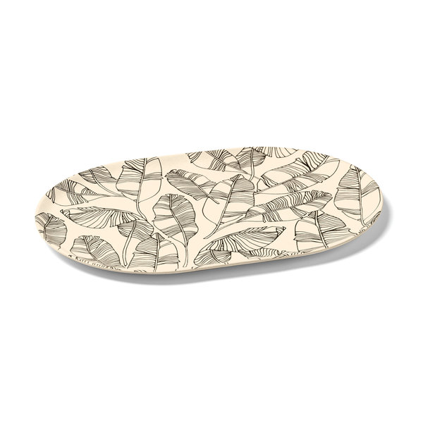 Ricardo Sand-coloured Bamboo Plate with Leaf Pattern