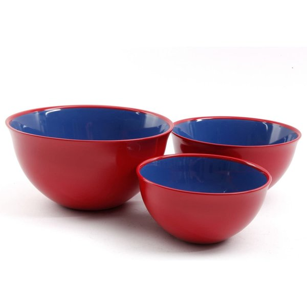 Gibson Home Just Dine Bistro Edge 3 Piece Bowl Set, Red/Cobalt