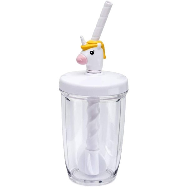 Joie Unicorn Milk Mix with Lid Pump and Drinking Straw, 10-Ounce Capacity, Unicron Cup, White