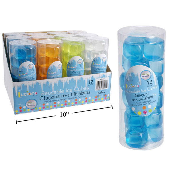 Set of 18 reusable ice cubes, 4 available colors
