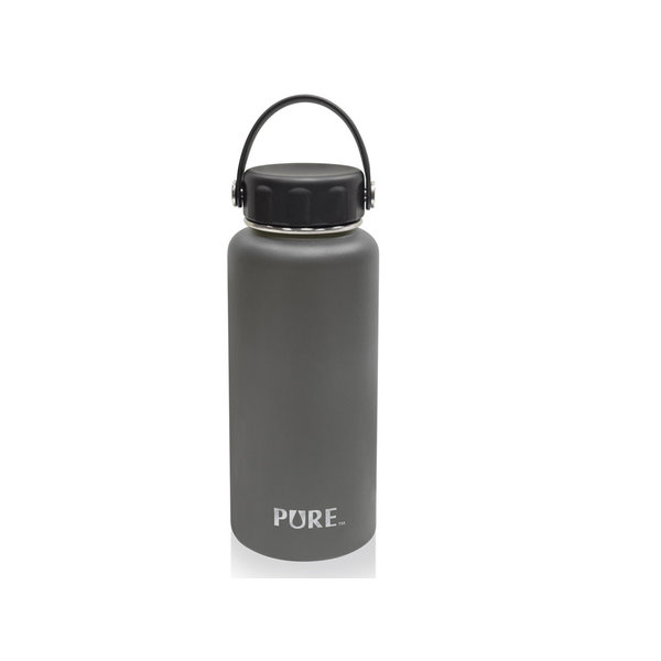 Pure 1L Double-wall stainless steel Bottle, grey