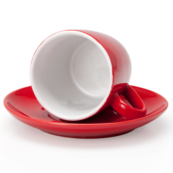BIA Cappuccino Cup & Saucer, red