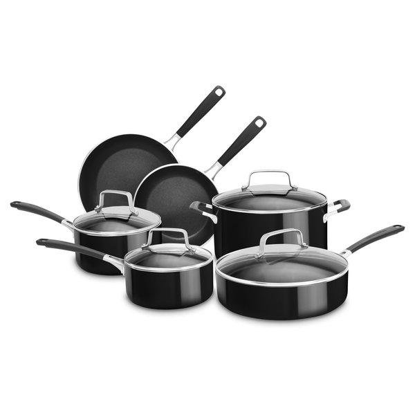 KitchenAid 10-Piece Black Stainless Steel Cookware Set
