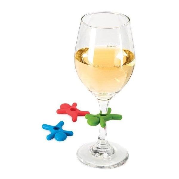 Breloques en verre à vin Stick Man - 6 pièces de Joie