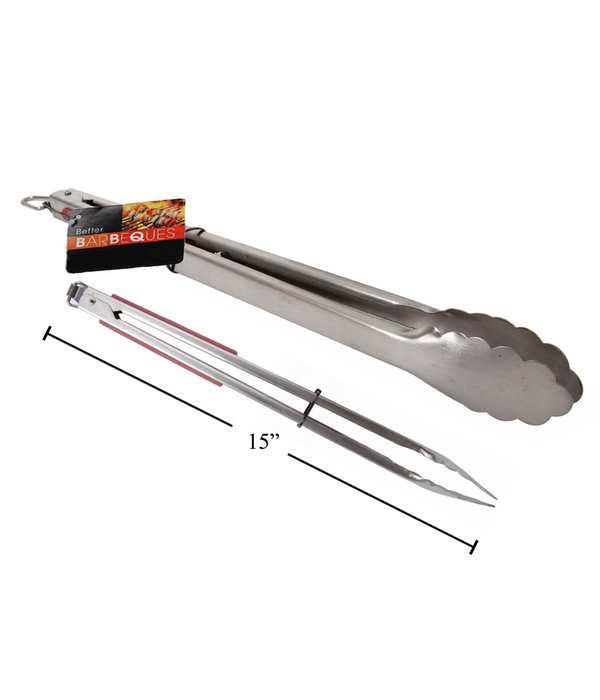 "BBQ 15"" Stainless Steel Tongs"