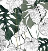 BAYOU MONSTERA LEAVES TABLECLOTH 54'' x 72''