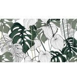 BAYOU MONSTERA LEAVES TABLECLOTH 60'' x 108''