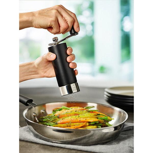 Peugeot Matte Black Wood Salt Mill With Crank Handle, u'Select, 18 cm–7″