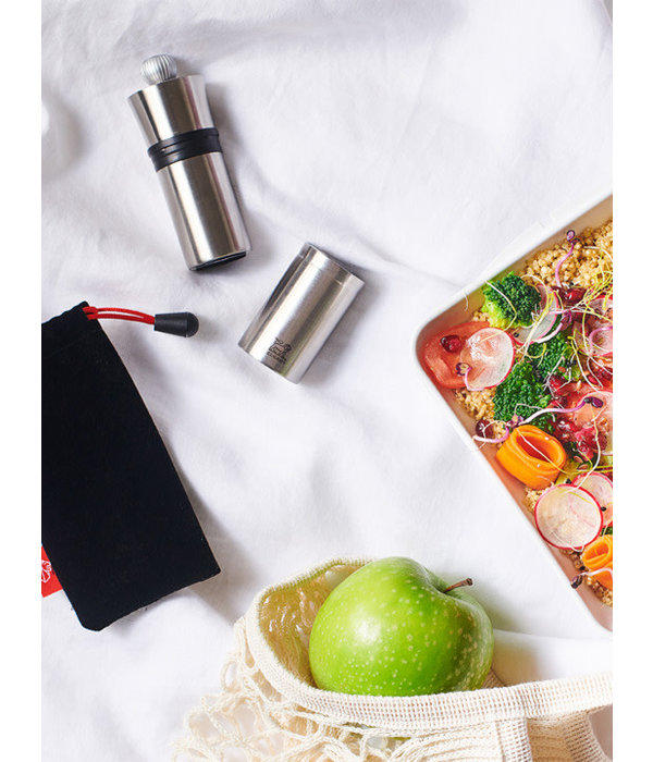 Peugeot Peugeot Compact Pepper Mill in Stainless Steel with a protective felt sleeve, 10 cm